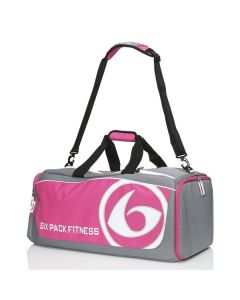 Six Pack Fitness Prodigy 300 Varsity Duffel Bag - Grey/Pink