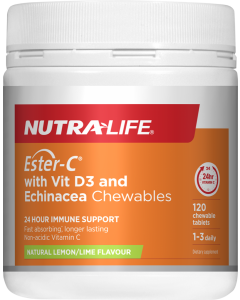 Nutra-Life Ester-C 1000mg + Vitamin D Chewable 120 Tablets