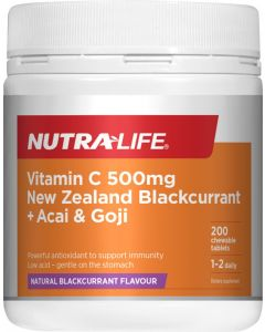 Nutra-Life Vitamin C 500MG NZ Blackcurrant + Acai & Goji