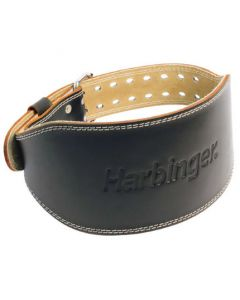 "Harbinger 6"" Padded Leather Lifting Belt Black"