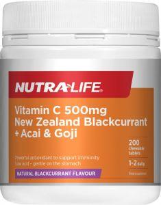 Nutra-Life Vitamin C 500MG NZ Blackcurrant + Acai & Goji