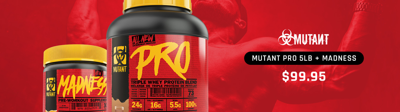 Mutant Pro Whey 5lb + Madness Pre-Workout $99.95