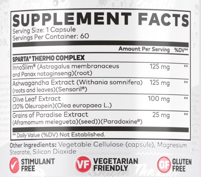 Sparta Nutrition Thermo Fat Burner Nutrition Info